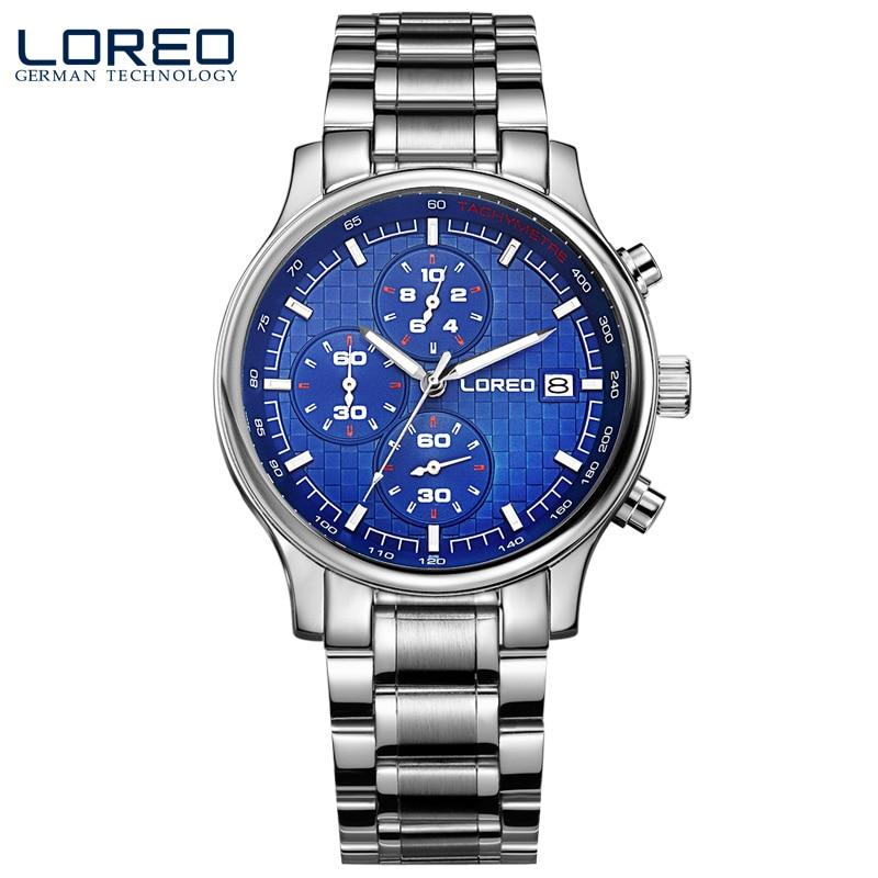 ФОТО LOREO quartz sapphire water resistant 5ATM blue stainless steel luminous Calendar Chronograph