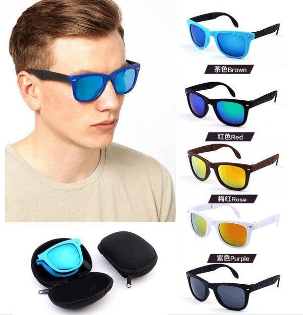 7c7a6a7ad3 2017 Nuevo hombres de la llegada de la moda remaches gafas de sol con caja  protección UV oculos de sol nuevo puede doblar gafas N680 en De los hombres  gafas ...