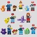 SY620 Ash Ketchum Calem Касуми Мисти Pidgeotto Пикачу Squirtle Pokemon Идут Строительные Блоки Игрушки Совместимость с Legoes