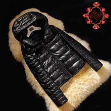 Fashion new Ladies' Genuine leather down coat,Quality casual hooded women's sheep leather down jacket Winter coat FG262