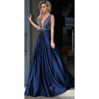 Elegant Sexy Blue Evening Dresses V-neck Beaded Navy Prom Dress A-line Long Fashion Evening Gowns Custom Made Robe De Soiree