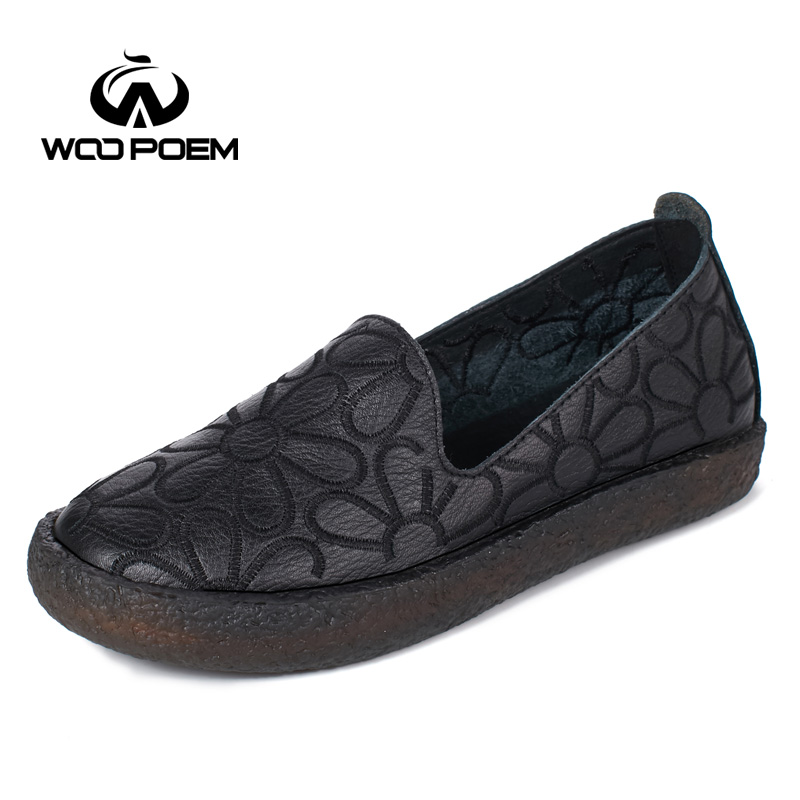 WooPoem Loafers Shoes Woman Breathable Genuine Leather Flats Slip-On Low Heel Soft Cow Muscle Sole Embroider Women Shoes 8515 top brand high quality genuine leather casual men shoes cow suede comfortable loafers soft breathable shoes men flats warm