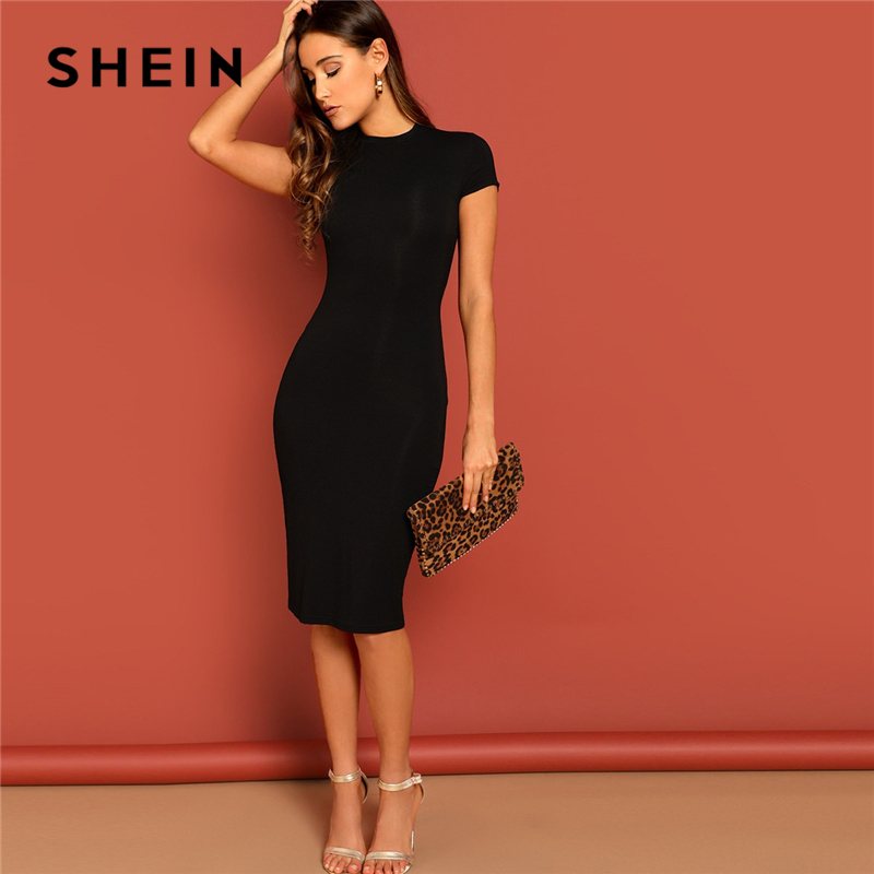 SHEIN Black Stand Collar Solid Natural Waist Stretchy Bodycon Dress Women Summer Elegant Short Sleeve Slim Fitted Pencil Dresses