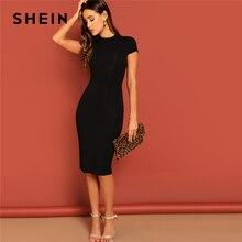 d3857bca68048 SHEIN Siyah Standı Yaka Düz Doğal Bel Sıkı Bodycon Elbise Kadın Yaz Zarif  Kısa Kollu İnce Gömme Kalem Elbise