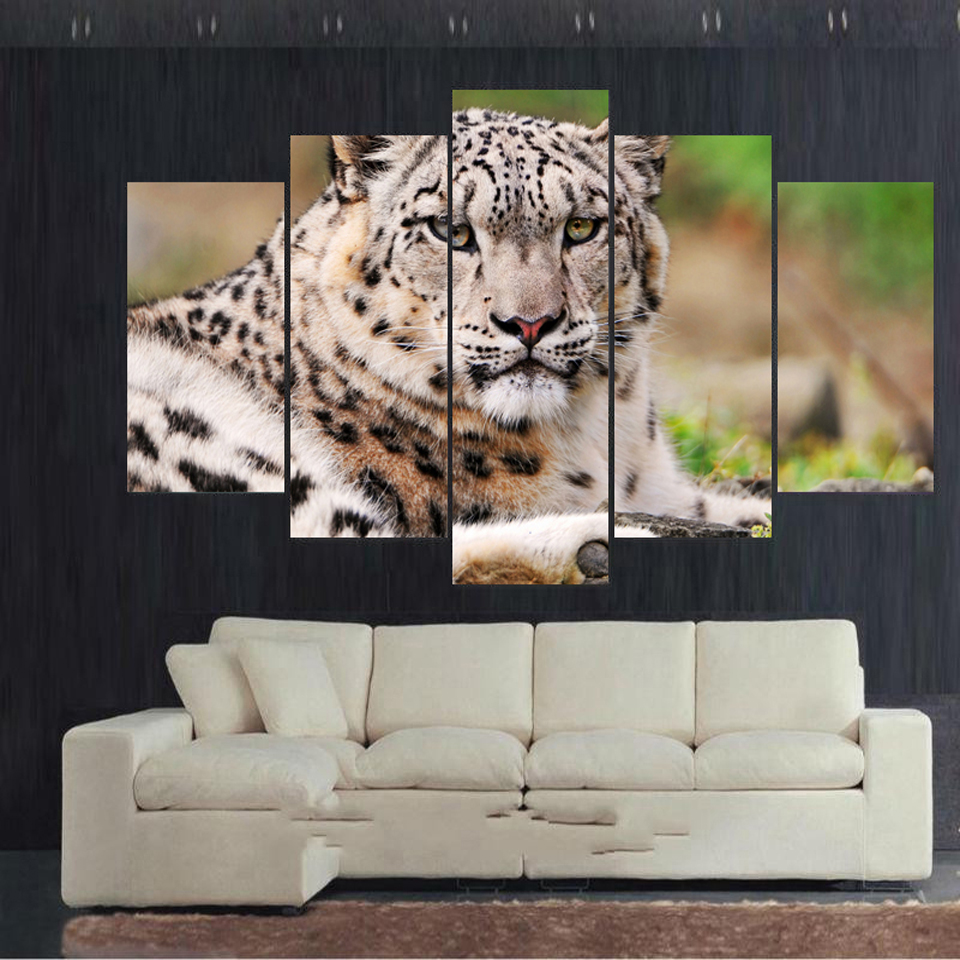 Leopard Bedroom Ideas For Painting: White Snow Leopard Spray Painting Set Of 5 For Office Room