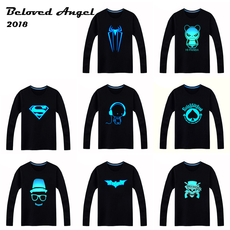 2018 Luminous Long Sleeve T-Shirt For Boys T Shirt Batman Christmas Teen Girl Tops 3-15 Years Teenage Toddler Boy Tshirts