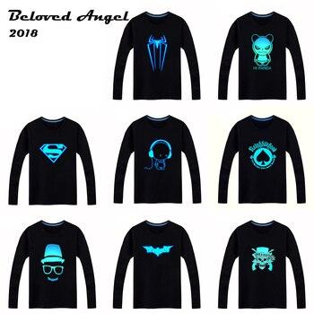 2018 Luminous Long Sleeve T-Shirt For Boys T Shirt Batman Christmas Teen Girl Tops 3-15 years Teenage Toddler Boy Tshirts