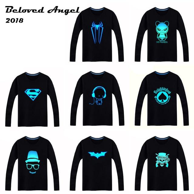3ee79cfe3 2018 luminosa Camiseta de manga larga para Niños camiseta Batman Navidad  muchacha adolescente Tops 3-