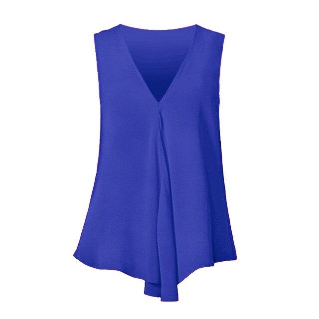 Fashion Women Chiffon Blouses Ladies Tops Sleeveless V Neck Shirt Blusas Femininas Plus Size S-6XL Female Solid Color Clothing 6