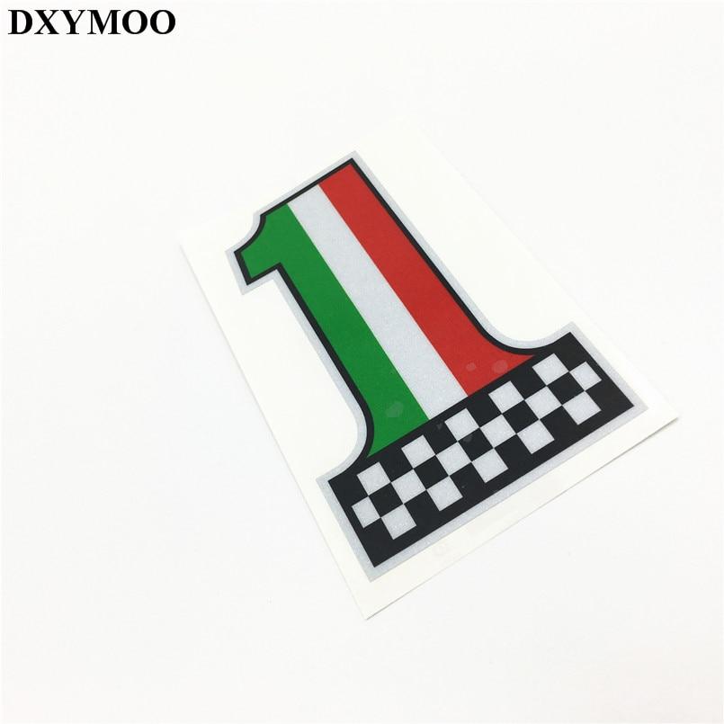 Motorcycle Racing Helmet Vinyl Italy Flag Number 1 Car Sticker Reflective for Vespa Piaggio автоаксессуар tds piaggio vespa