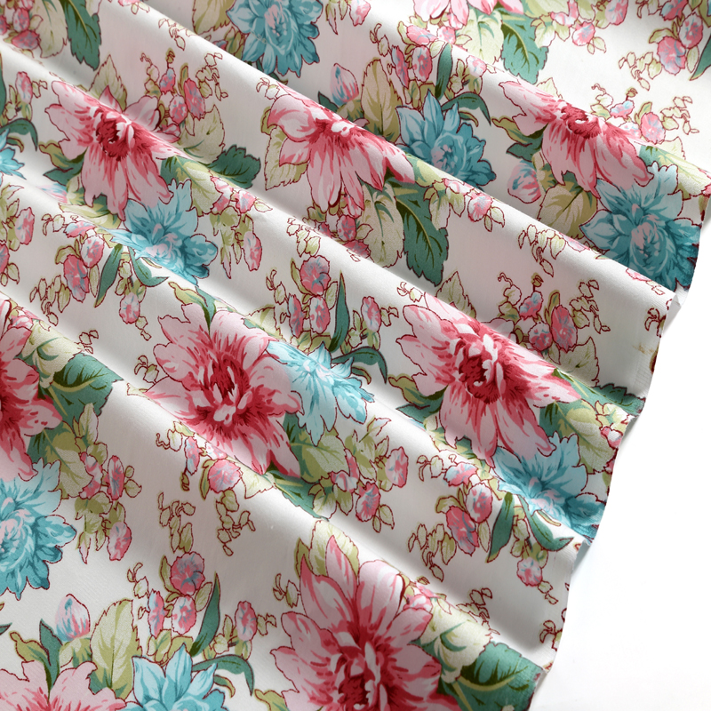 New Pretty 100% Cotton Fabric 50x160cm Traditional Blue Mixed Pink Rose Flowers Printed Bedding Quliting Clothing Fabric