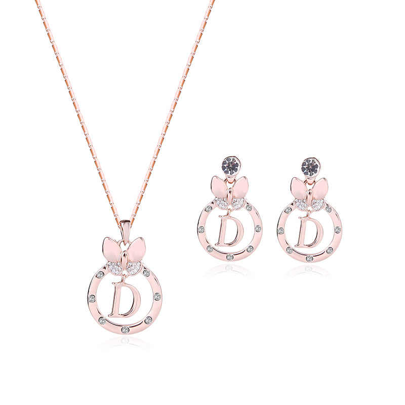 HC Lovely Round Drop Pendant Girl Kid Jewelry Set Fashion Rose Gold Crystal Letter Bowknot Earrings Necklace Set Children Gift T