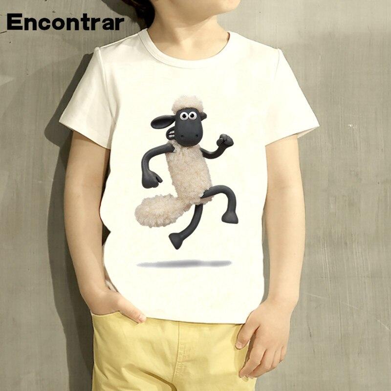 Kids Cartoon Shaun the Sheep Cartoon Design T Shirt Boys/Girls Short Sleeve Tops Children Cute T-Shirt,HKP2188 geo print short sleeve t shirt