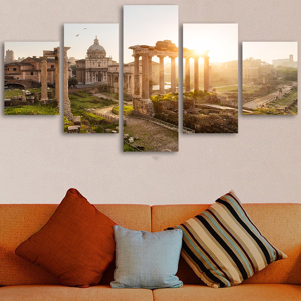 Frame Living Room HD Printed Painting Home Decor 5 Panel