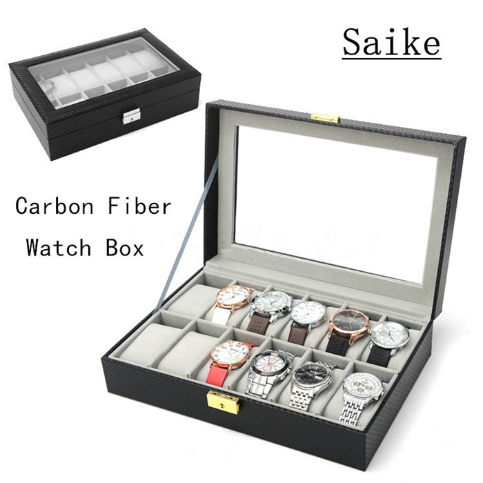 Carbon Fiber 12 Grids Brand Watche Box With Key Black Leather Watch Display Cases Top Fashion Watch Storage Jewelry Box D026 lateral lock 10 grids watches box black leather brand watch display box with key watch storage boxes top watch jewelry case d021
