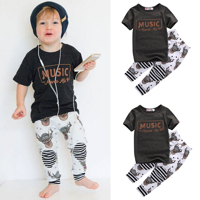 Toddler Kid Baby Boy Clothes Short Sleeve Cotton MUSIC T-Shirt Tops Pant 2pcs Outfits Kids Clothing Set 2017 newborn baby boy clothes summer short sleeve mama s boy cotton t shirt tops pant 2pcs outfit toddler kids clothing set