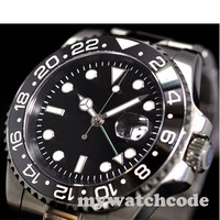 40mm parnis black sterile dial luminous GMT date window sapphire crystal automatic mens watch P344