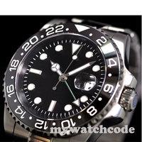 40mm parnis preto estéril dial luminoso gmt data janela safira cristal relógio automático masculino p344