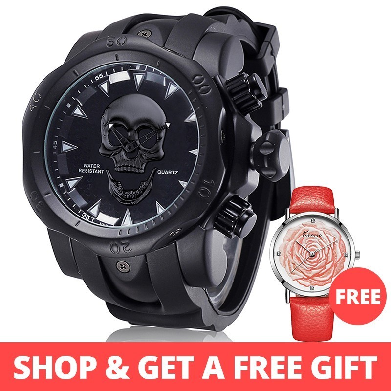 JIANGYUYAN New Big Dial Rotatable 3D Skull Watch Men Gold Black Ghost Silicone Band Wrist Watches For Men Luxury Brand Casual