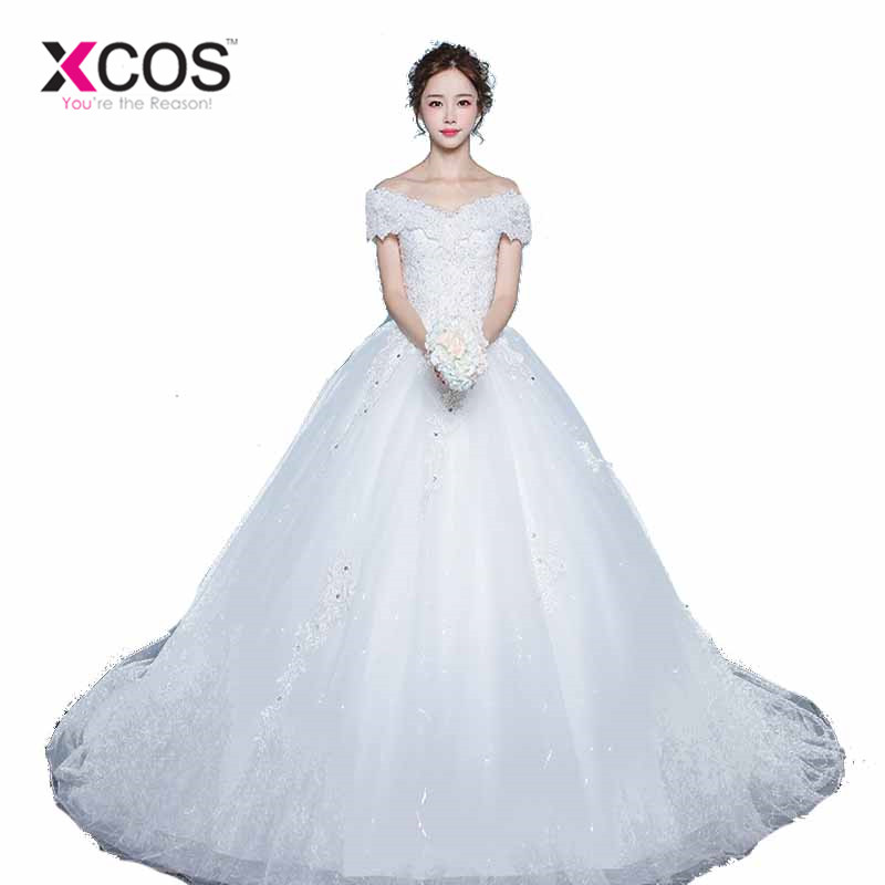 74d0ae6d927 XCOS Elegant Ball Gown Wedding Dresses 2018 Off the Shoulder White Tulle  Beads Lace Bridal Gowns. Loading zoom