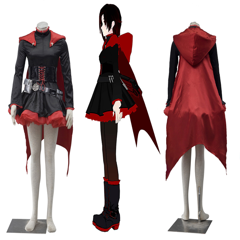Halloween RWBY Ruby Ruby Rose Red Trailer Dress Cloak Cosplay Costume Anime