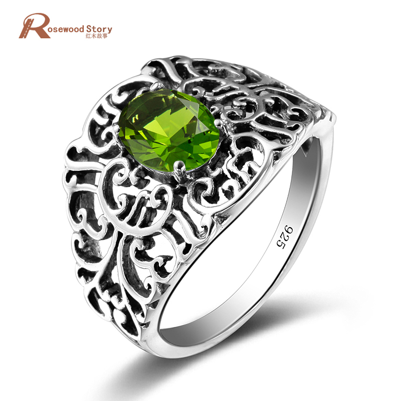 New Arrival Exquisite Jewelry Ring for Women Victoria Antique 925 Sterling Silver Lady Anniversary Ring Olive Stone Silver Fish