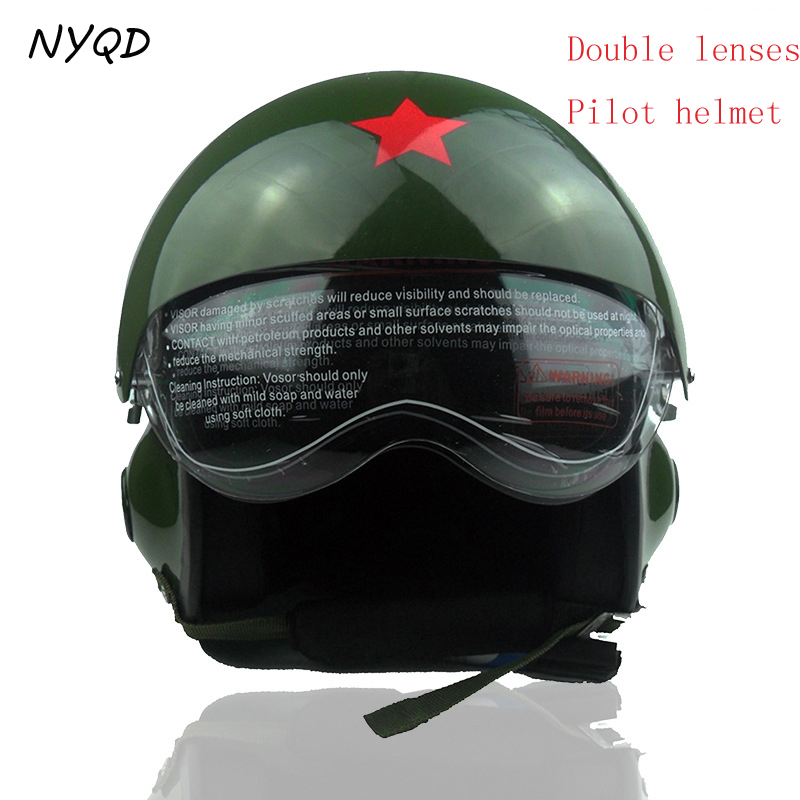 Мотоцикла открытым лицом VINTAGE PILOT шлем мужчины и женщины ГОНКИ стекловолокна шлем off road мотоцикл двойного козырек каски