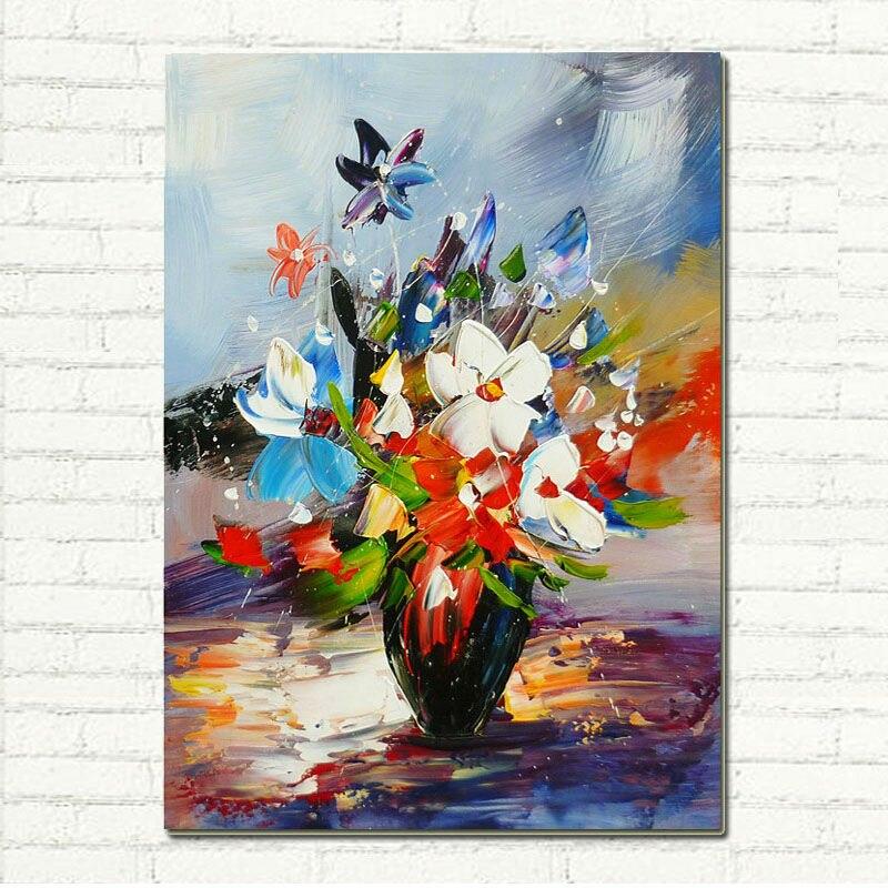 Vaso di fiori colorati dipinto a mano con texture spatola for Fiori dipinti a olio