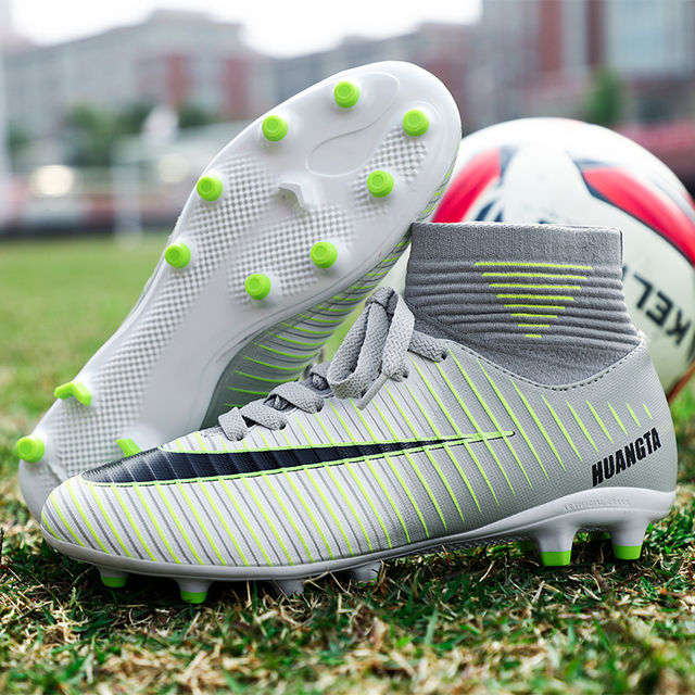 5d1b3875110ca Men Kids Football Boots With Ankle Long Spikes High Top Soccer Shoes for  Man Children Sport