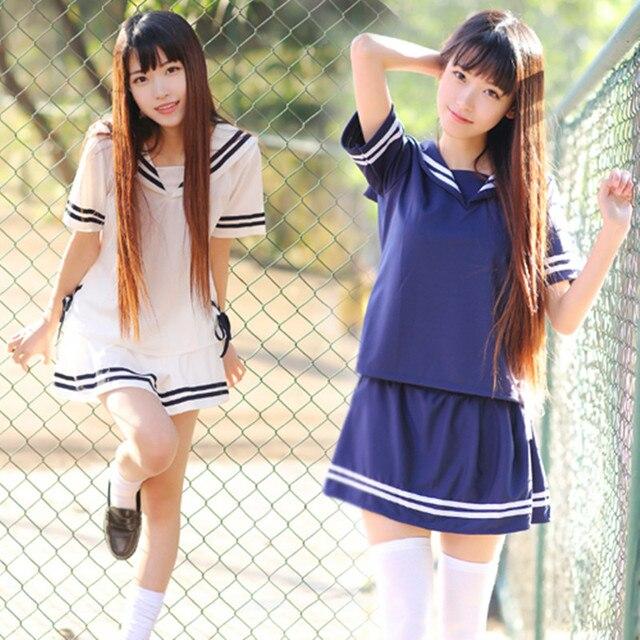 52e91a1a6 € 10.73 36% de DESCUENTO Uniforme escolar japonés para niña moda coreana  estilo marino faldas ropa japonesa uniformes de animadora Harajuku Kawaii  ...