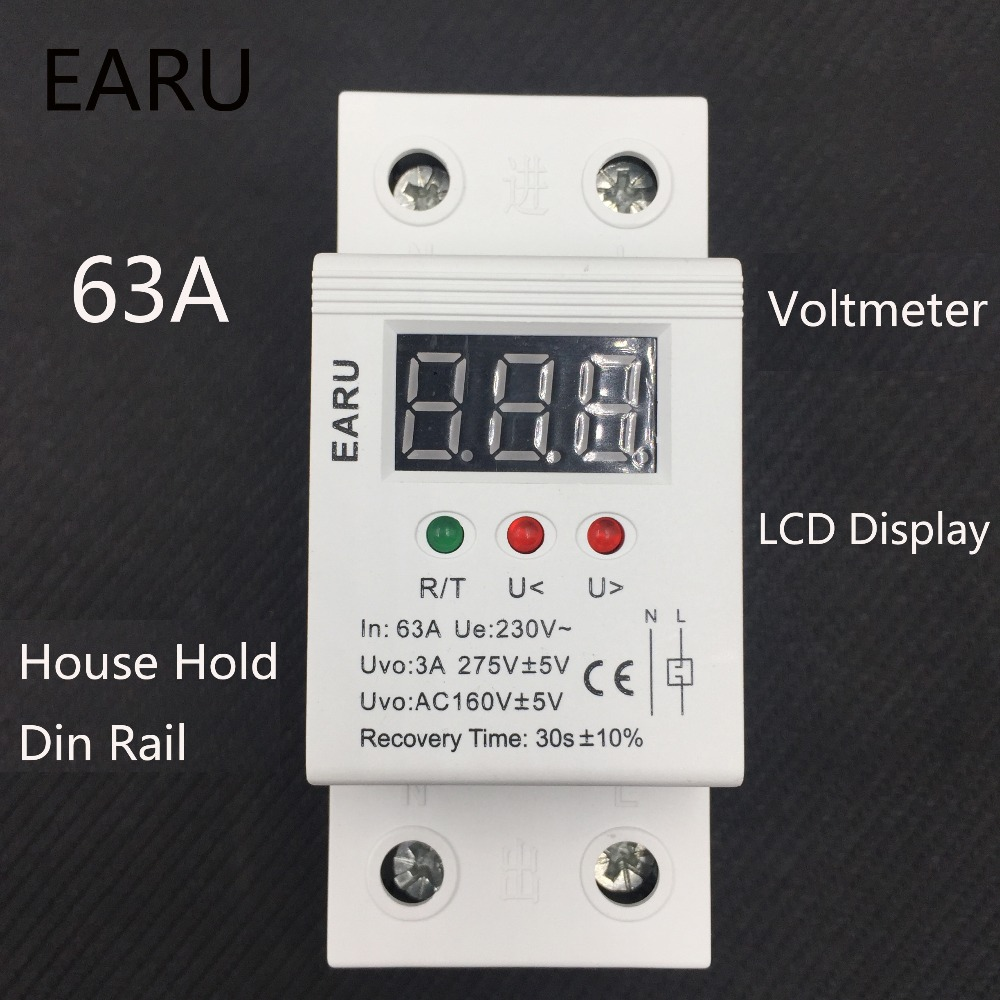 63A 230V Self Recovery Restore Automatic Reconnect Over & Under Voltage Lightening Protection Relay with LCD Voltmeter Monitor 1pc 63a 230v self recovery automatic reconnect over