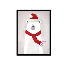 Hot Sell  Bear Santa Christmas Gift Ornament Canvas Painting Home Decoration Living Room Or Bedroom Print Framed Wall Picture