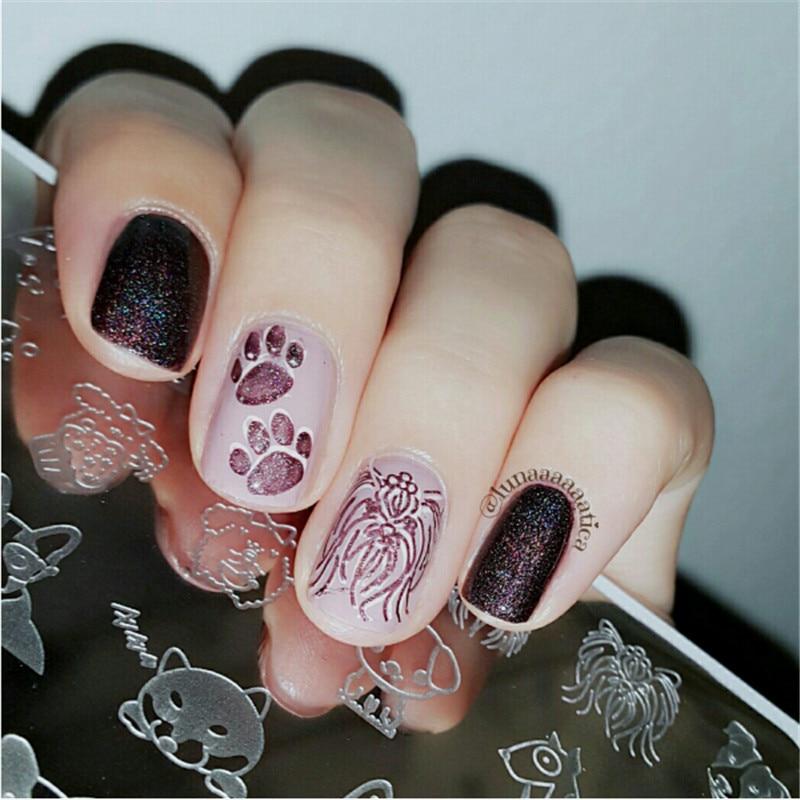 Cute Dog Design Nail Art Stamp Template 126cm Rectangle Manicure