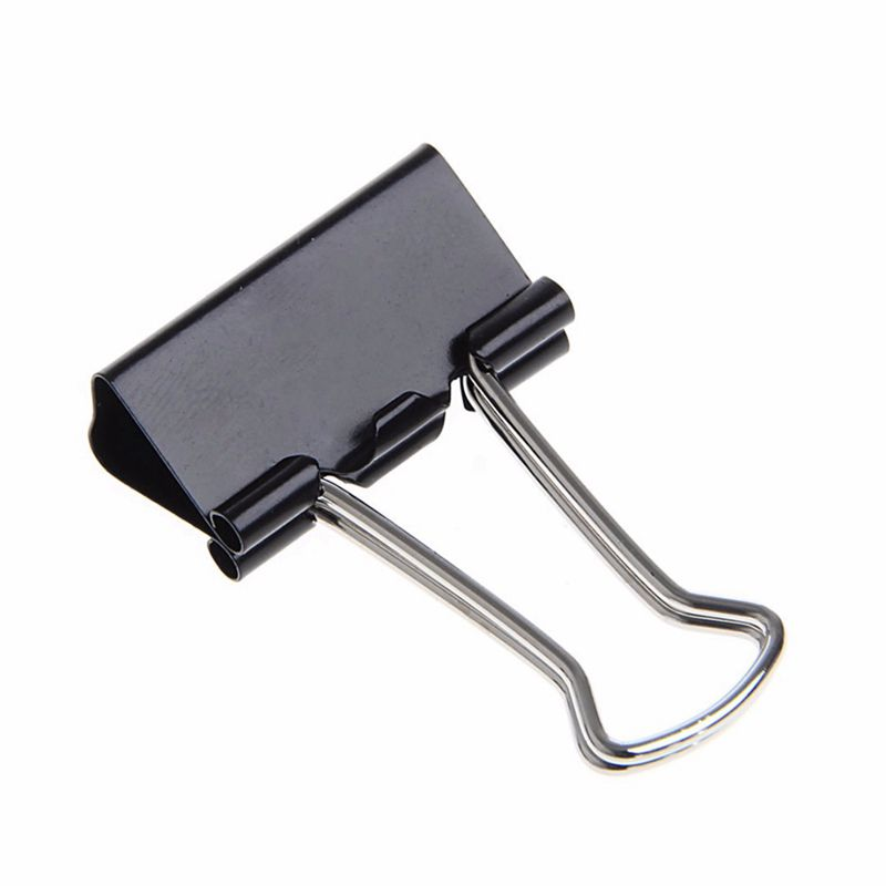 48 Pcs 25mm Black Metal Binder Clips File Paper Clip Document Office Supplies