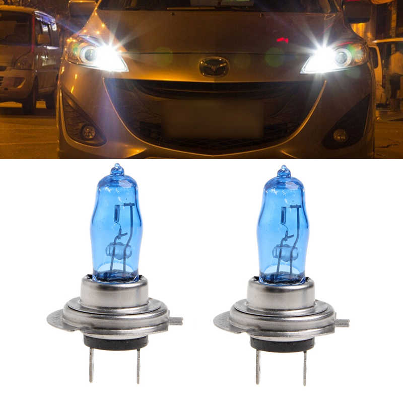 New 2 Pcs H7 6000K Gas Halogen Headlight White Light Lamp Bulbs 100W Bright DC 12V for Vehicle Car
