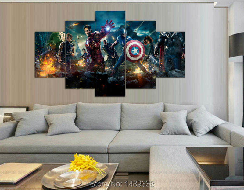 Framed Printed the avengers 5 piece painting wall art children s room decor  poster canvas Free - Avenger Bedroom Decor Carpetcleaningvirginia.com