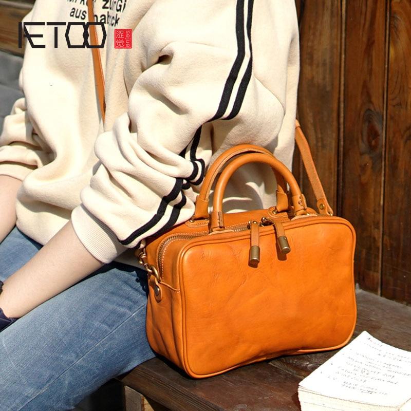 AETOO British retro handmade cowhide leather shoulder portable diagonal bag casual compact box type bag ladies