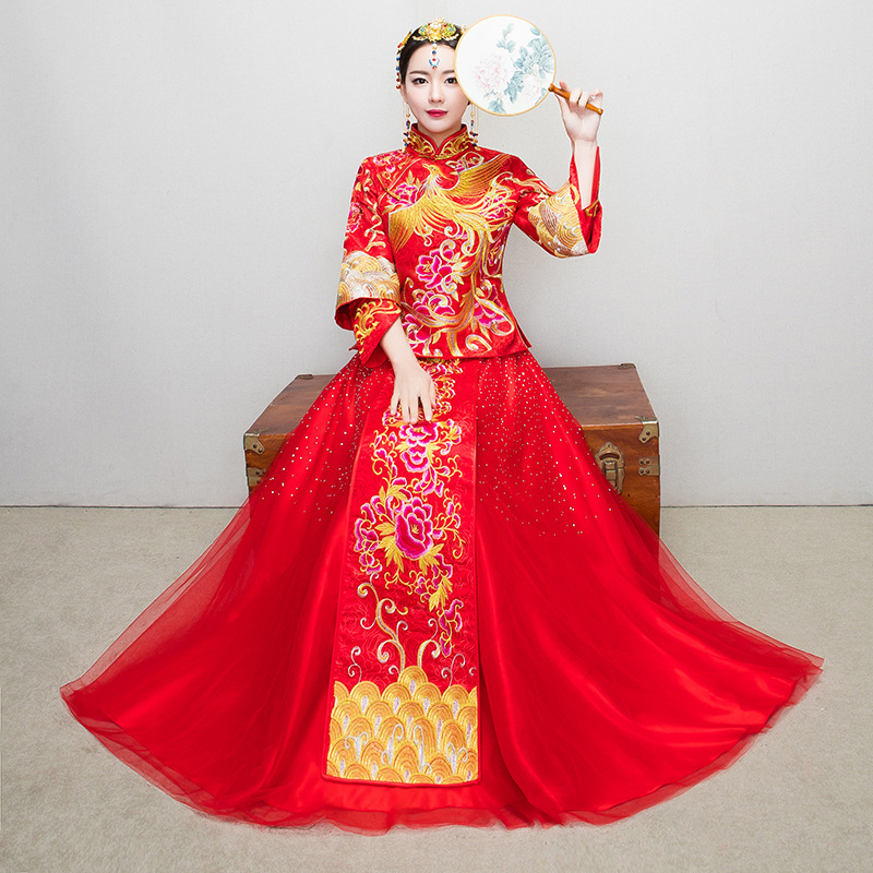 Bride Traditions Women Phoenix Embroidery Cheongsam Long Qipao Wedding Dress Traditional Chinese Dresses China Clothing Store все цены