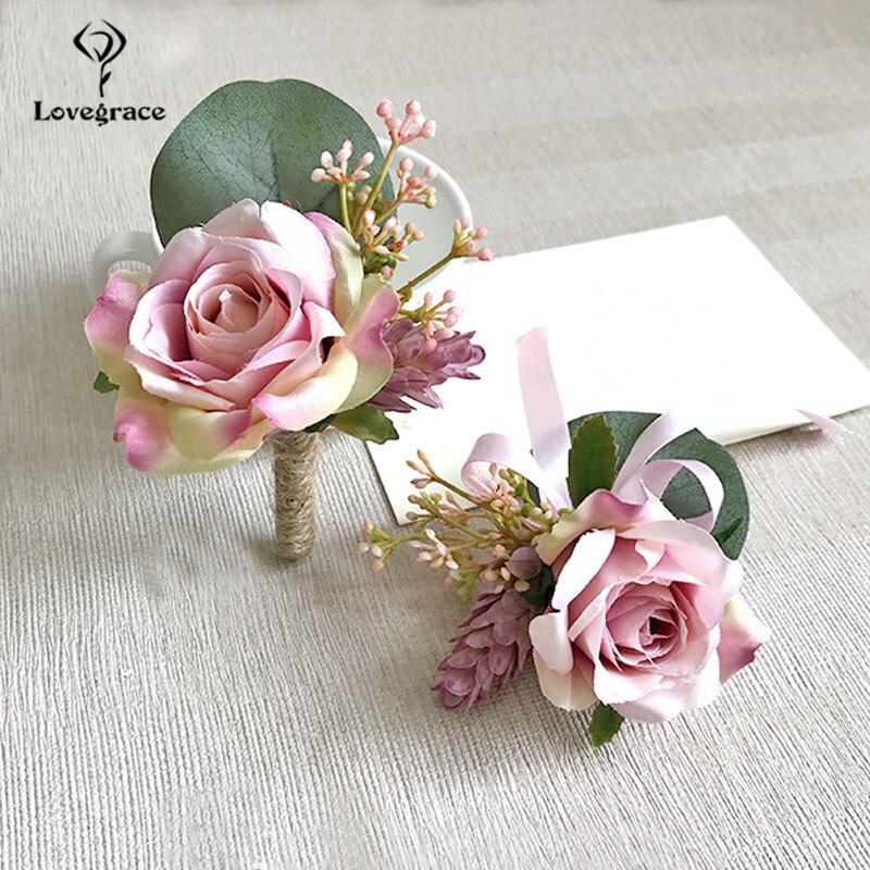 pink roses bridal Wrist corsages bracelet wedding flowers  (1)