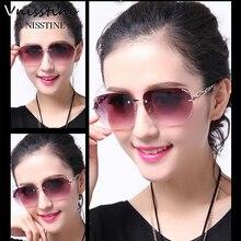 Vnisstine Sunglasses For Women Square Rimless Diamond cutting Lens Brand Designer Fashion Shades Sun Glasses