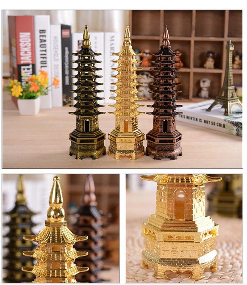 Kitajska Feng shui Wenchang stolp miniaturas kovinski okras obrt - Dekor za dom - Fotografija 6