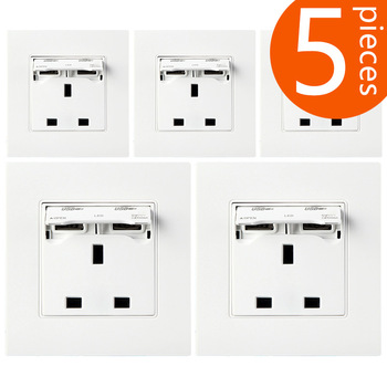 5 Pieces British standard power outlet socket with 2USB charging 86 PC panel  YS-2USB