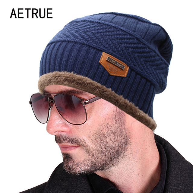 44874961f7d 2017 Brand Beanies Knit Men s Winter Hat Caps Skullies Bonnet Winter Hats  For Men Women Beanie Fur Warm Baggy Wool Knitted Hat