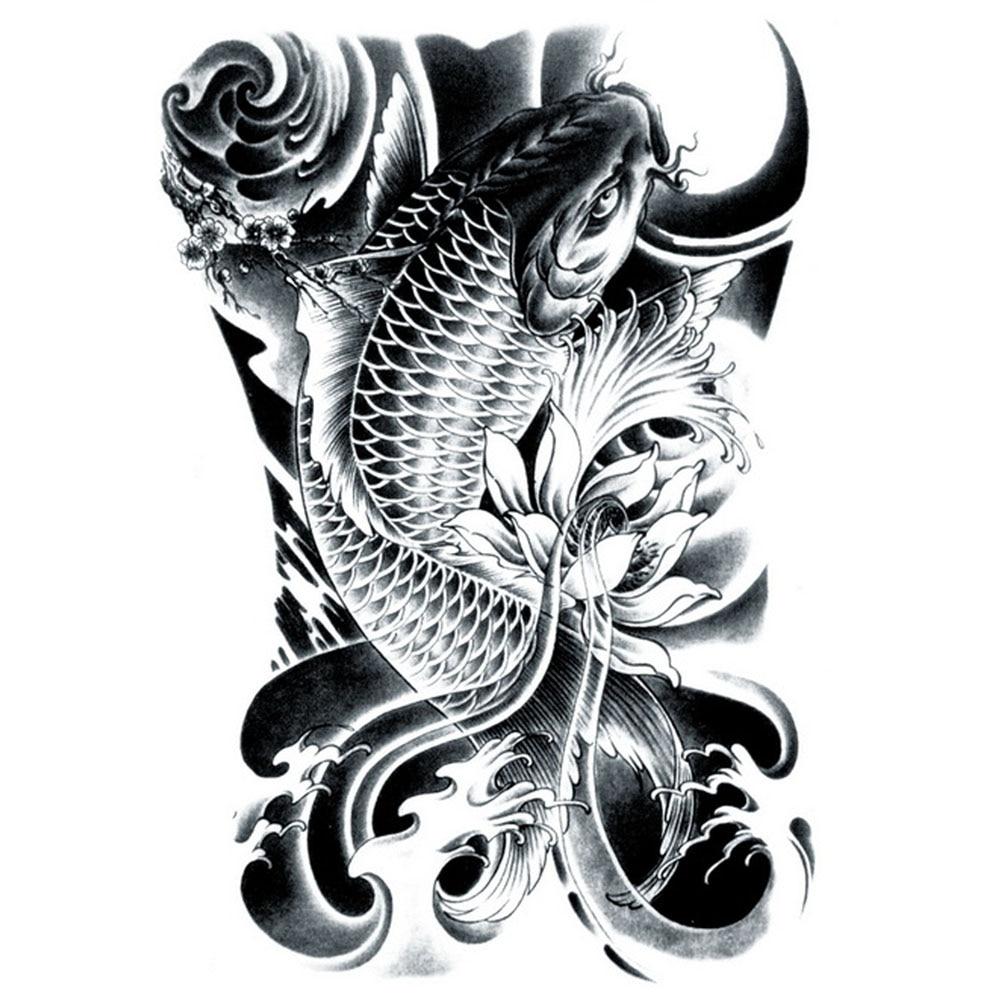 Yeeech Temporary Tattoos Sticker for Men Large Fake Carp Fish Lotus Black Designs Arm Leg Back Body Art Waterproof Long Lasting