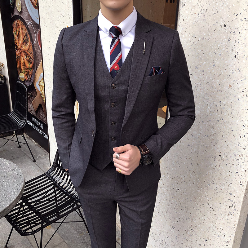 (Tops + Vests + Pants) High-end Men's Business Casual Suit Three-piece Suit Slim Single Buckle Wedding Attire Groomsmen Dresses
