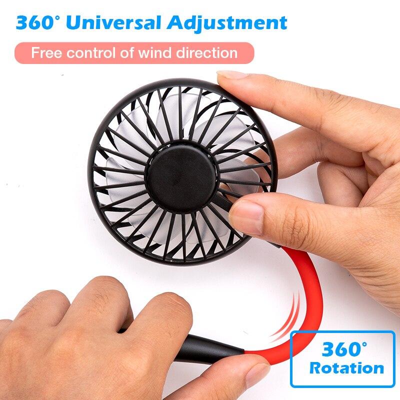 Mini USB Portable Fan Lazy Neckband Fan