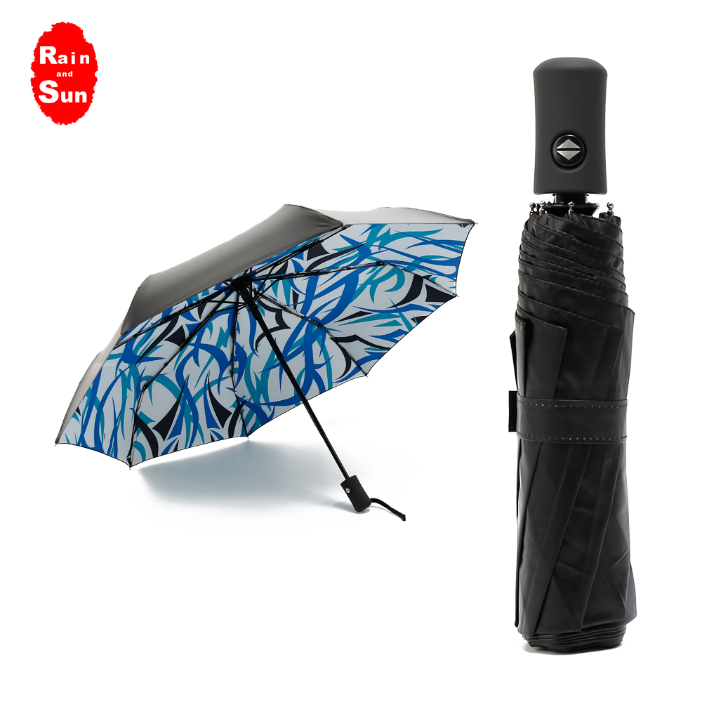 Rain And Sun Creative Folding Umbrella Automatic Beautiful Pattern Black Coating Umbrellas For Ladies Compact Windproof Parasol