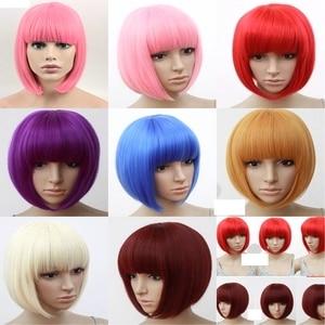 Image 5 - NIỀM VUI & LÀM ĐẸP Tóc Ngắn Bob Thẳng Tóc Giả Tóc Tổng Hợp Hóa Tóc Giả Sợi Nhiệt Độ Cao Hồng Dài 12inch Nữ bộ tóc giả