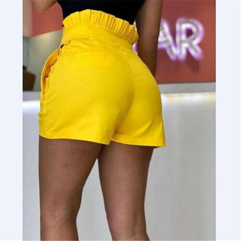 Повседневные женские короткие брюки трапециевидной формы Новинка 2018 г. Высокий пояс летние зеленые шорты брюки стильные женские свободные пляжные шорты
