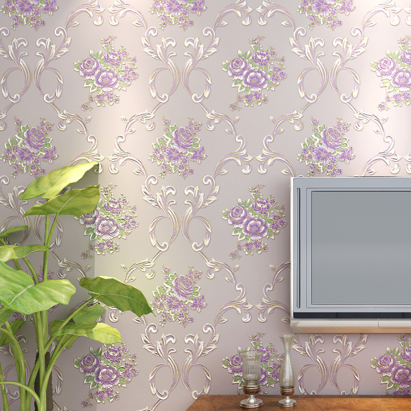 Floral Wallpaper Modern Pastoral 3D Purple Flowers Wall Sticker Living Room TV Sofa Bedroom Home Decor Background Wall Paper 3 D